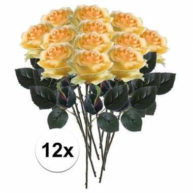 12 x gele roos simone 45 cm kunstplant steelbloem