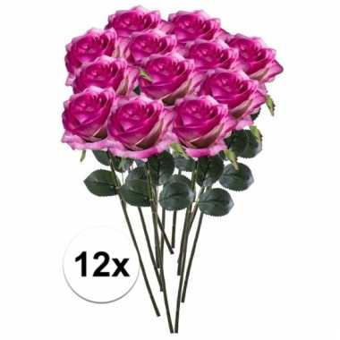 12 x paars/roze roos simone 45 cm kunstplant steelbloem