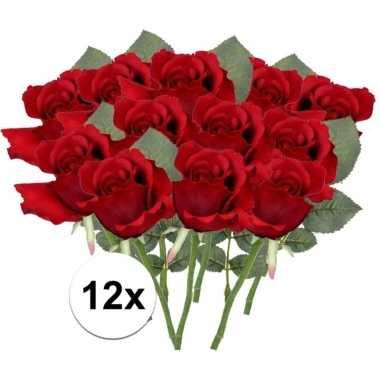 12 x rode roos 30 cm kunstplant steelbloem