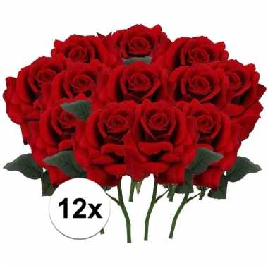 12 x rode roos deluxe 31 cm kunstplant steelbloem