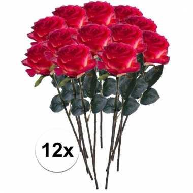 12 x rood/gele roos simone 45 cm kunstplant steelbloem