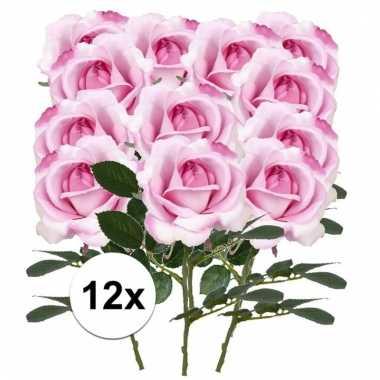 12 x roze roos carol 37 cm kunstplant steelbloem