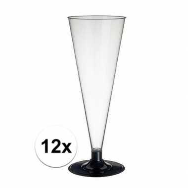 12 x wegwerp plastic doorzichtige champagneglazen/flutes