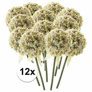 12 x witte sierui 70 cm kunstplant steelbloem