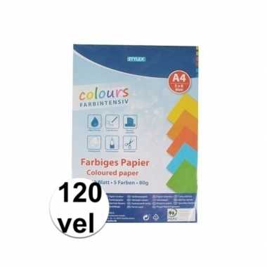 120 velletjes hobby papier gekleurd a4