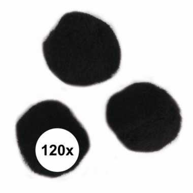 120x zwart decoratieve pompons 15 mm
