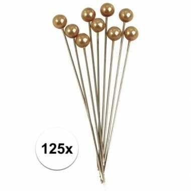 125x parel kopspelden goud 6,4 cm