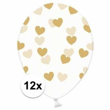 12x bruiloft/trouwerij ballonnen gouden hartjes