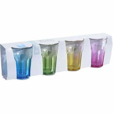 12x drink glazen met gekleurde bodem 360 ml