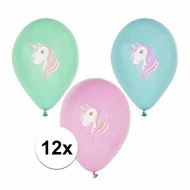 12x eenhoorn thema ballonnen
