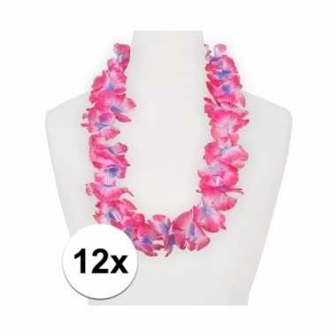 12x feest hawaii slingers roze/paars