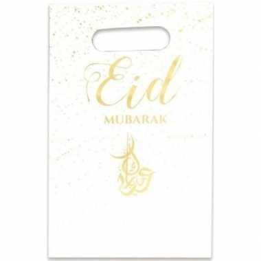 12x feestartikelen witte/gouden ramadan uitdeelzakjes/snoepzakjes eid