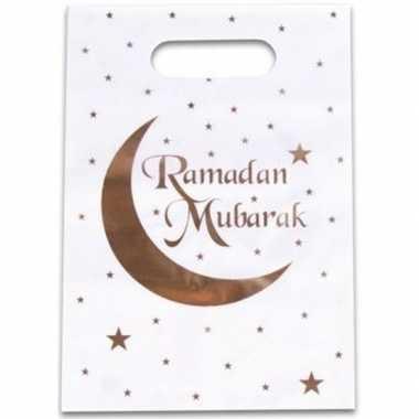12x feestartikelen witte/gouden ramadan uitdeelzakjes/snoepzakjes ram