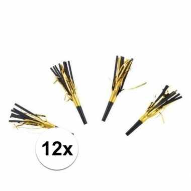 12x feesttoeters zwart/goud met slierten
