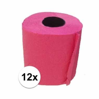 12x fuchsia roze toiletpapier