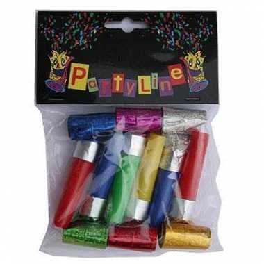 12x gekleurde uitblazers party toetertjes