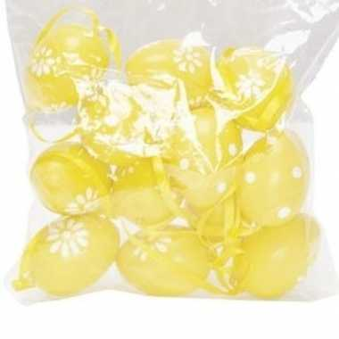 12x gele paastakken versiering eieren stippen/bloemen 4 cm