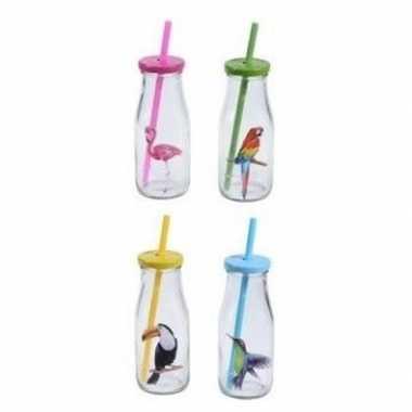 12x glazen drink fles vogel met rietje 13 cm