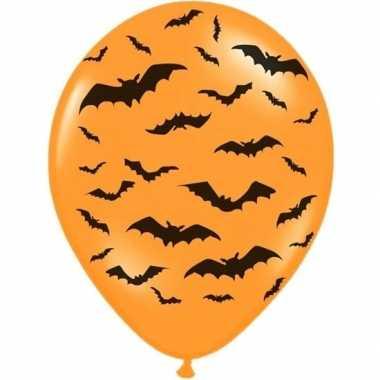 12x halloween decoratie ballon matoranje met zwarte vleermuisprint 30