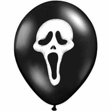 12x halloween decoratie ballon matzwart met scream skull/skelet/doods