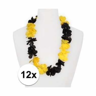 12x hawaii bloemenkransen geel/zwart