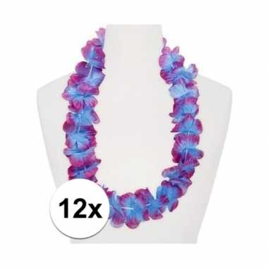 12x hawaii bloemenkransen paars/blauw
