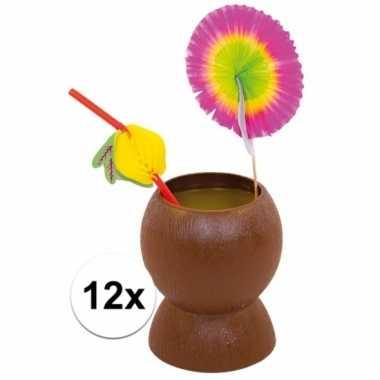 12x hawaii feest bekers kokosnoot