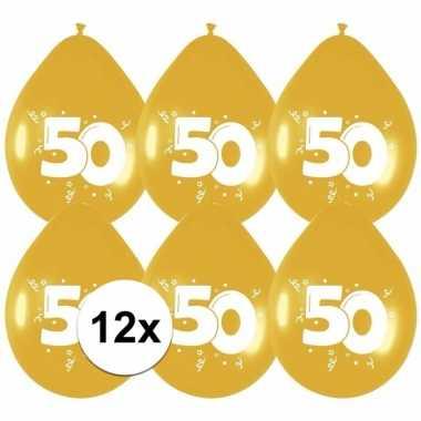 12x jubileum versiering gouden ballonnen 50 jaar