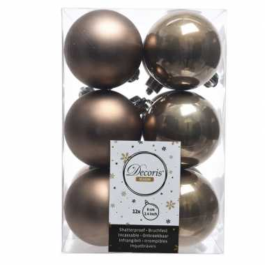 12x kasjmier bruine kerstballen 6 cm glanzende/matte kunststof/plasti