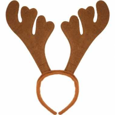 12x kerst feest/party gewei bruine hoofdband voor volwassenen