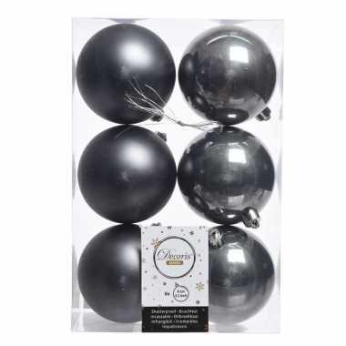 12x kerstboom ballen donker grijs 8 cm