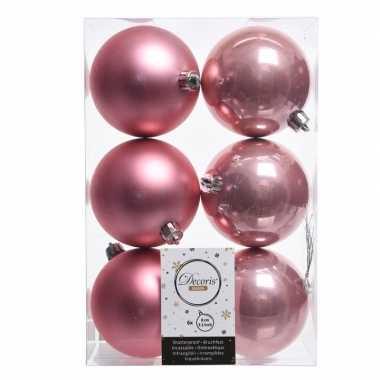 12x kerstboom ballen oud roze 8 cm