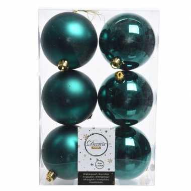 12x kerstboom ballen smaragd groen 8 cm