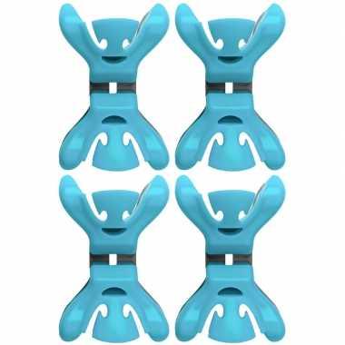 12x kerstkaarten/geboortekaartjes ophangen klemmen blauw zonder plakb