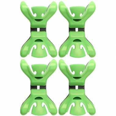 12x kerstkaarten/geboortekaartjes ophangen klemmen groen zonder plakb