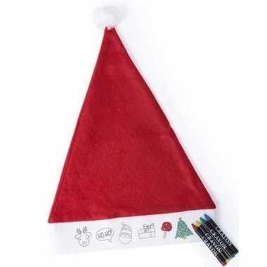 12x kerstmutsen kleuren setjes met waskrijtjes voor kinderen