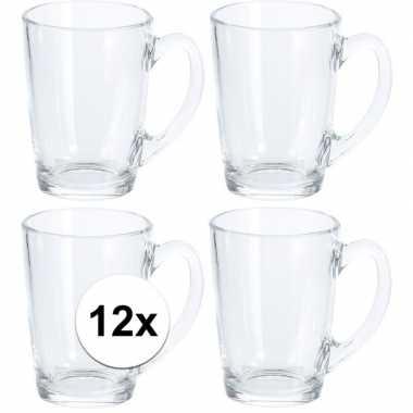 12x koffie/thee glazen 8x11 cm