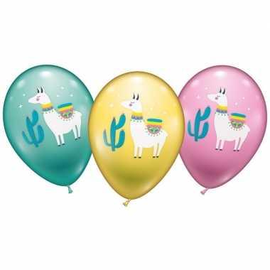 12x lama/alpaca ballonnen groen/geel/roze