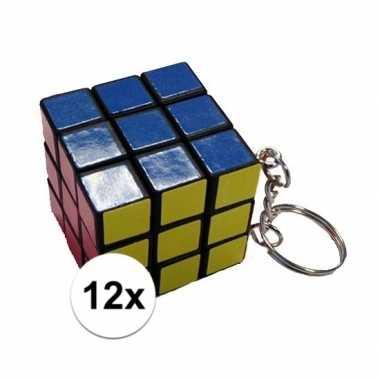 12x mini kubus spelletjes 3 cm aan sleutelhanger
