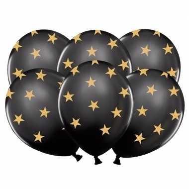12x nieuwjaar ballonnen zwart met gouden sterren