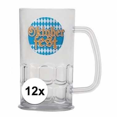 12x oktoberfest bier beker/pullen van een halve liter