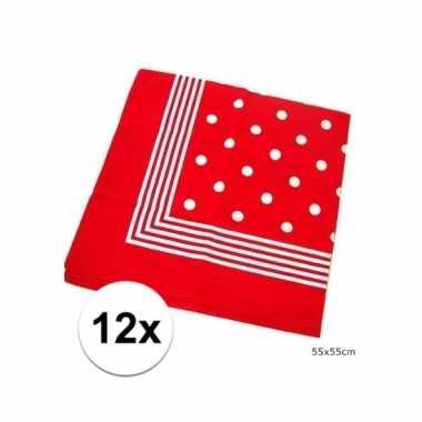 12x rode boeren zakdoekjes 55 x 55 cm