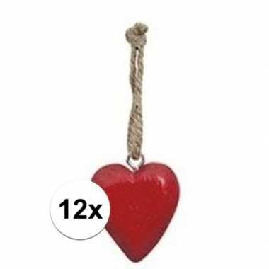 12x rode hart hanger 5 cm
