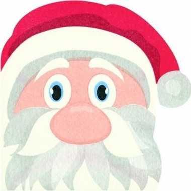 12x rode kerst tafelversiering kerstmannen papieren servetten