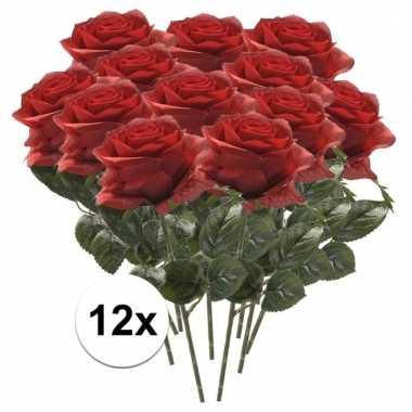 12x rode roos kunstbloem 45 cm