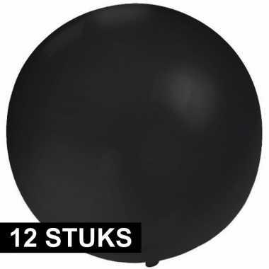 12x ronde zwarte ballon 60 cm groot