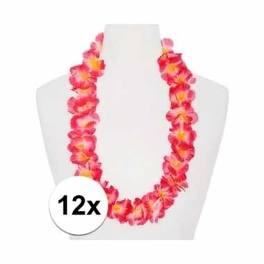 12x roze/oranje feest hawaii kransens