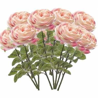 12x rozen kunstbloem lichtroze 66 cm