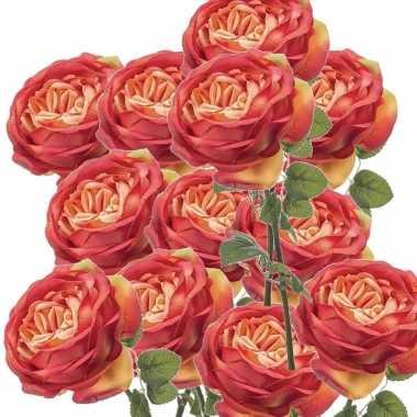 12x rozen kunstbloem oranje 66 cm
