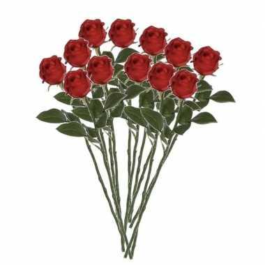 12x rozen kunstbloem rood 45 cm
